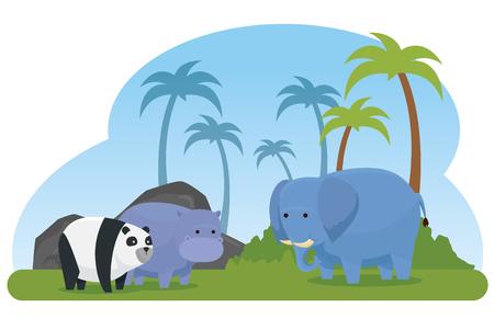 hippopotamus with elephant and panta wild animals vector illustration Illustration