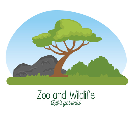 wildlife reserve with tree and nature mountains vector illustration