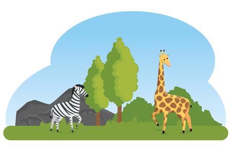 zebra and giraffe wild animals reserve vector illustration