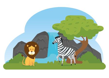 lion and zebra wild animals reserve vector illustration
