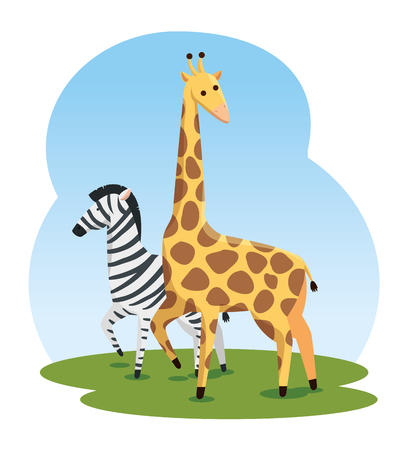 cute zebra and giraffe wild animals vector illustration
