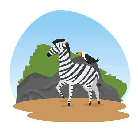 zebra and bird wild animals reserve vector illustration 向量圖像