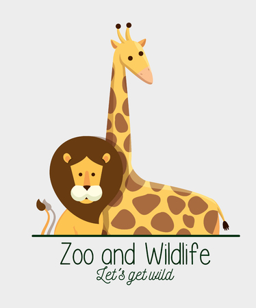 lion and giraffe animals in the safari reserve vector illustration