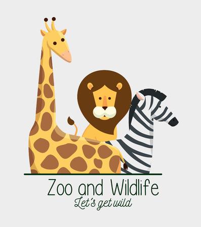 giraffe with lion and zebra animals in the safari reserve vector illustration