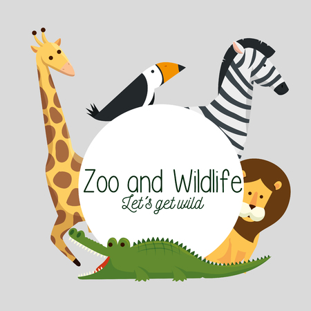 label with wild animals natural reserve vector illustration
