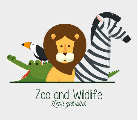 natural wildlife reserve to cute animals vector illustration