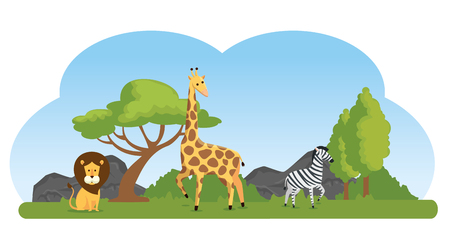 cute wild animals in the natural reserve vector illustration