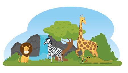 lion with zebra and giraffe in the natural reserve vector illustration 일러스트