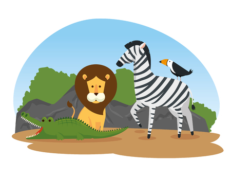 cute wild animals in the safari reserve vector illustration
