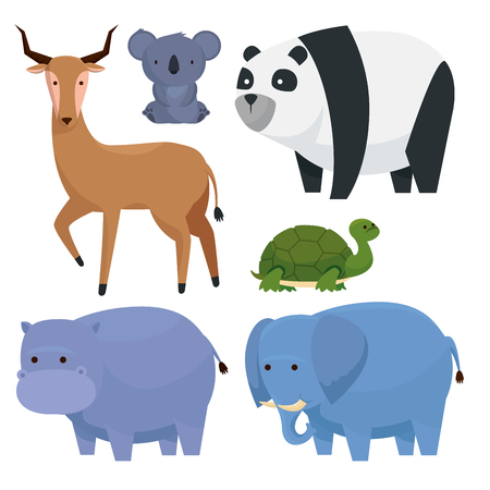 set wild animals reserve to fauna cratures vector illustration