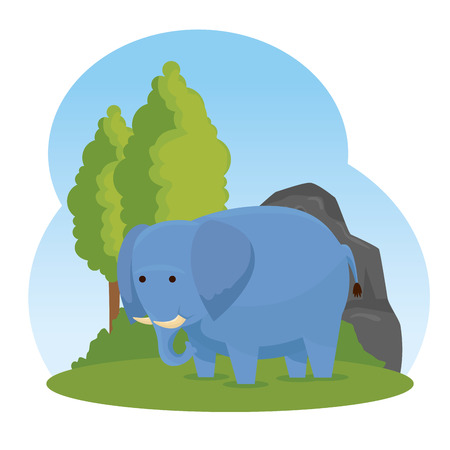 elephant wild animal with trees and bushes vector illustration
