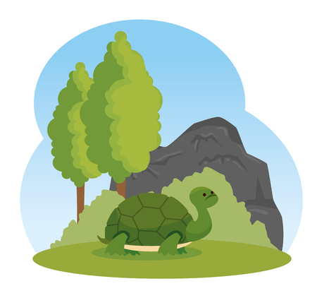 turtle wild animal with trees and bushes vector illustration