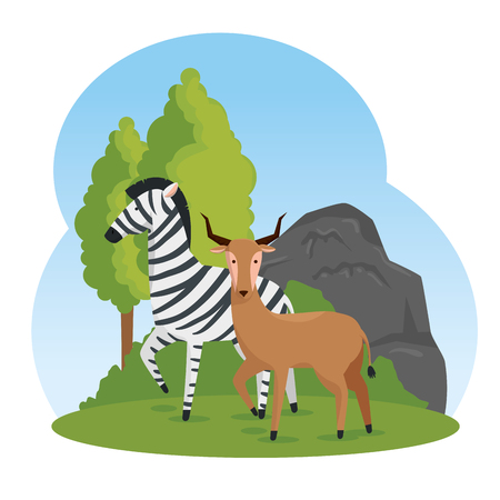 zebra and deer wild animals with trees vector illustration