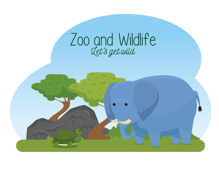 elephant and turtle wild animals with trees vector illustration Illustration