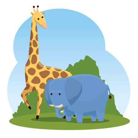 giraffe and elephant wild animals with bushes vector illustration