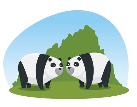 panda couple wild animals with bushes vector illustration Ilustração