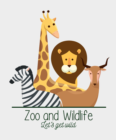 wildlife animals with natural safari reserve vector illustration