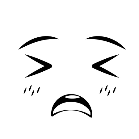 face expression cartoon white background vector illustration