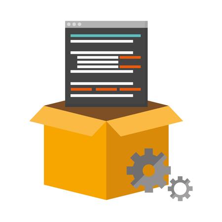 mobile app development box gears setting vector illustration Illustration