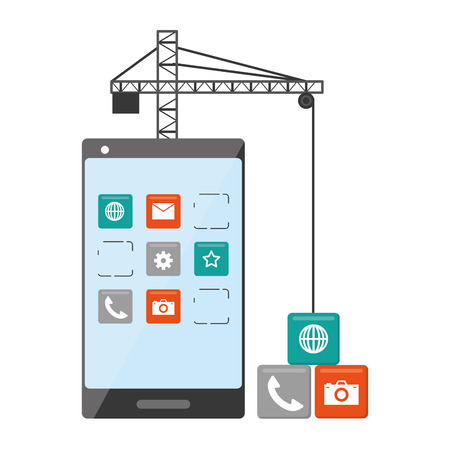 mobile app development cellphone crane tools vector illustration
