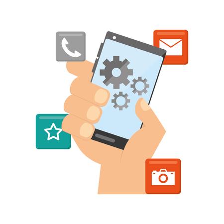 Mano con herramientas de teléfono móvil desarrollo de aplicaciones móviles ilustración vectorial Ilustración de vector