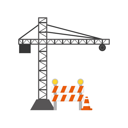 construction crane and barrier cone vector illustration