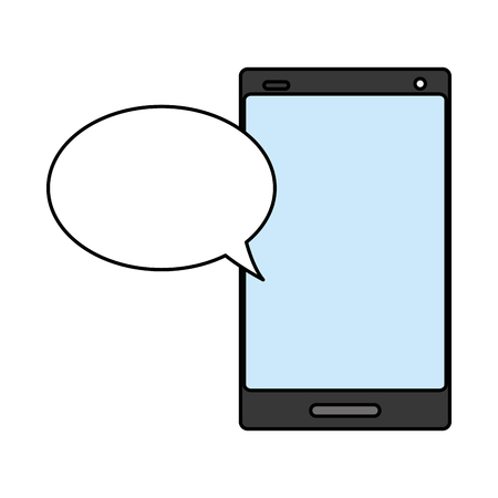 cellphone speech bubble on white background vector illustration