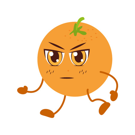 orange cartoon character on white background vector illustration  イラスト・ベクター素材