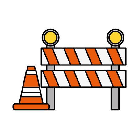 traffic barrier and cone warning vector illustration