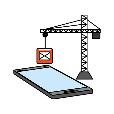 mobile app development email crane construction vector illustration
