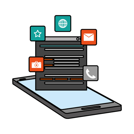 mobile app development language digital vector illustration