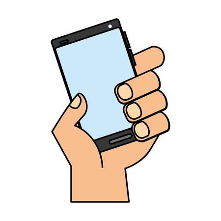 hand holding cellphone device digital vector illustration Illusztráció