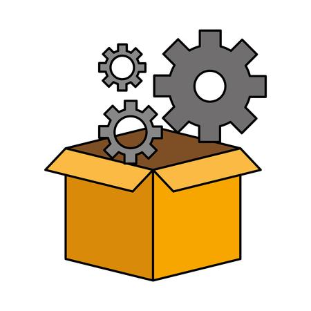 cardboard box gears wheel technology vector illustration