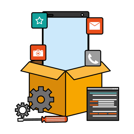 mobile app development cellphone box setting tools vector illustration Stock Vector - 125257640