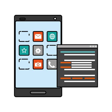 mobile app development cellphone language vector illustration