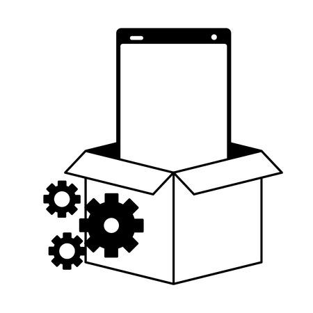 mobile app development cellphone on box vector illustration