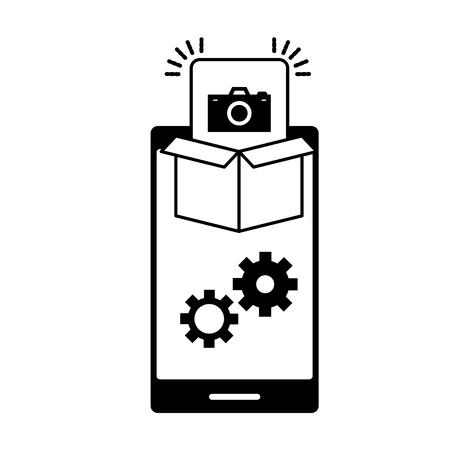 mobile app development cellphone box and camera gears vector illustration