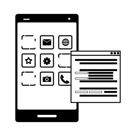 mobile app development cellphone language vector illustration 向量圖像