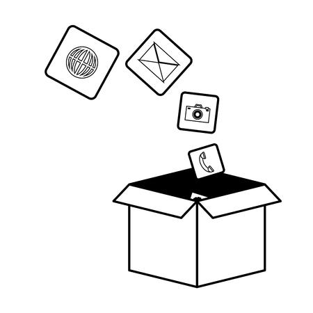 mobile app development cardboard box items vector illustration