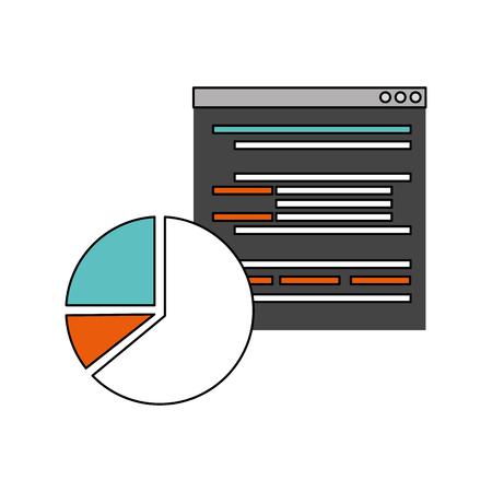 website language chart pie report vector illustration