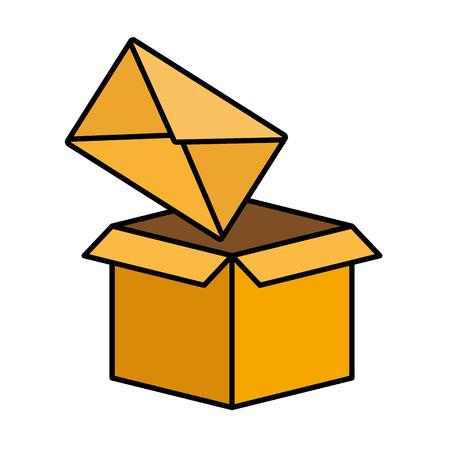 Boîte en carton enveloppe e-mail message vector illustration