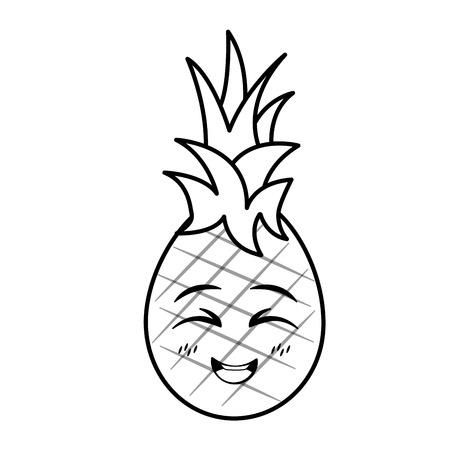 Personaje de dibujos animados de piña kawaii sobre fondo blanco ilustración vectorial Ilustración de vector