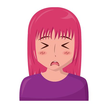anime girl manga portrait character vector illustration