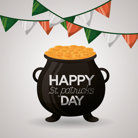 cauldron coins garlands happy st patricks day vector illustration