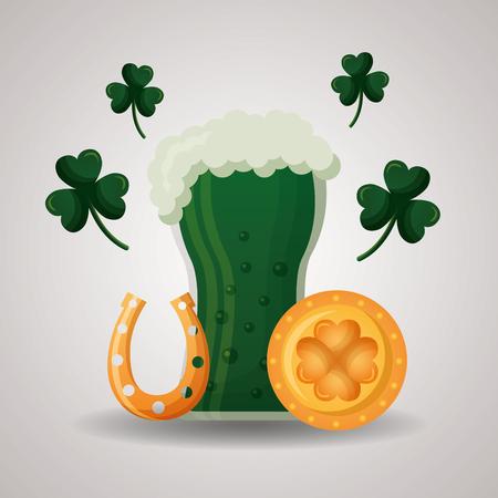 green beer horseshoe coin clover happy st patricks day vector illustration 일러스트