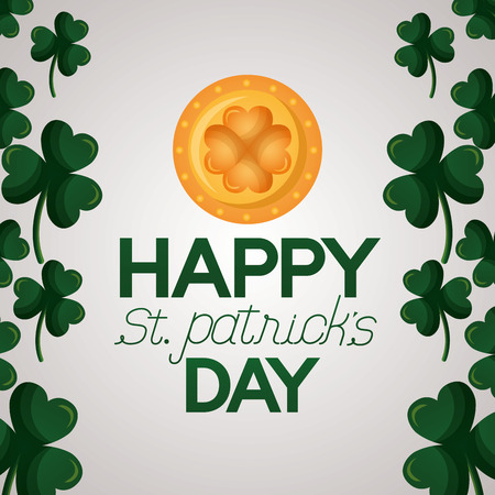 gold coin clovers frame happy st patricks day vector illustration