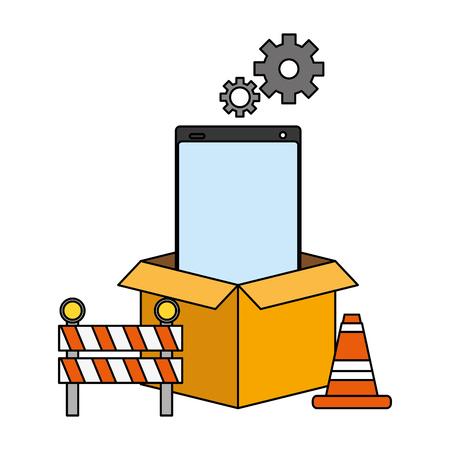 cellphone box warning mobile app development vector illustration Stock Vector - 125257777