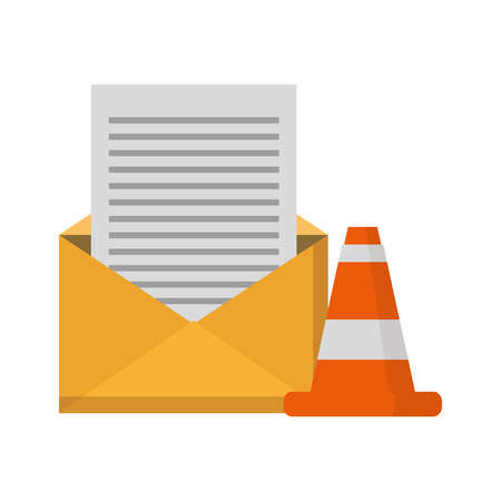 email message warning data caution vector illustration