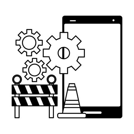 cellphone construction mobile app development vector illustration