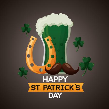 green beer horseshoe moustache happy st patricks day vector illustration 向量圖像